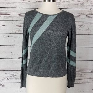 Bar III Sweater Color- block Shimmer Blue Gray S
